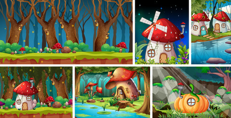 Photo sur Plexiglas Jeunes enfants Six different scene of fantasy world with fantasy vilage and forest at night scene