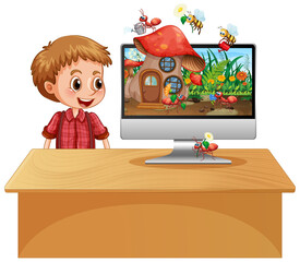 Foto auf Acrylglas Kinder Insect cartoon fairy on computer background