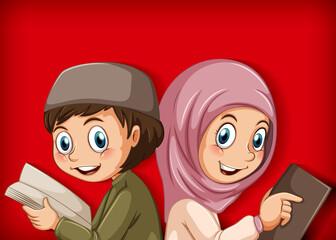Foto auf Acrylglas Kinder Muslim students reading the book