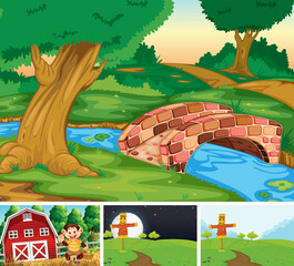 Foto auf Acrylglas Kinder Set of farm scene cartoon style