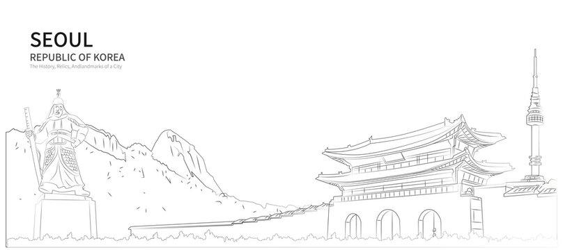 Seoul cityscape line vector. sketch style south korea landmark illustration