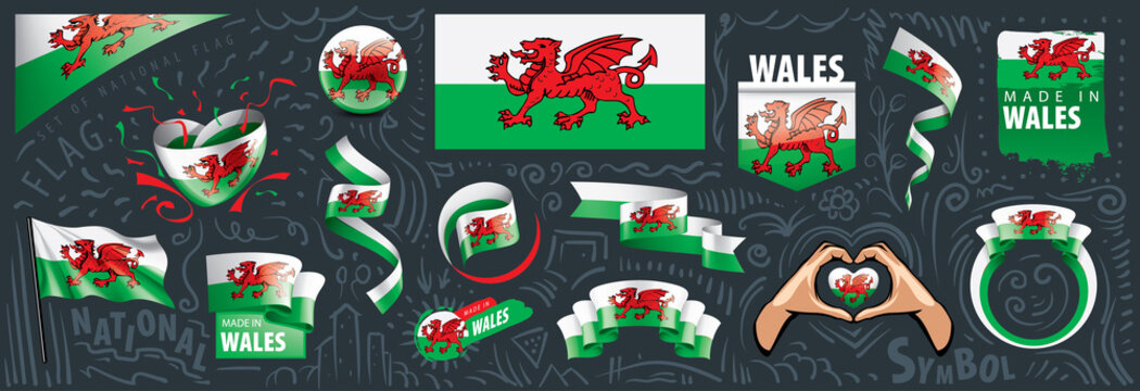 Vector set of the national flag of Wales in various creative designs