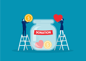 Donation bottle with golden coins and dollar banknotes. Charity, donate help and aid concept. Vector illustration