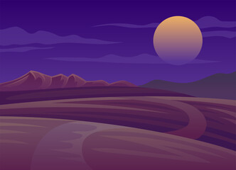 Fotorolgordijn Violet Horizontal Scenery with Sunset and Mountain Landscape Vector Illustration