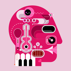 Human head shape design consisting with a different musical instruments vector illustration.