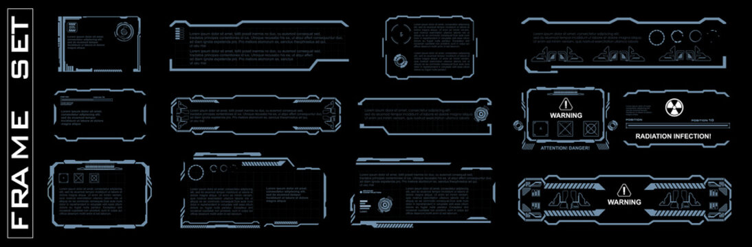 Set of screen elements. HUD, GUI, UI The user interface for game application. Set of frames on black background for game dev. Futuristic user interface