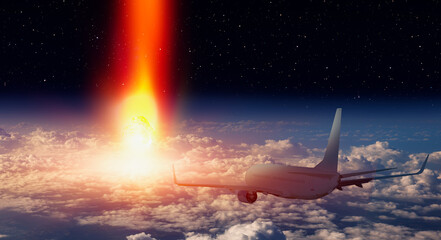 Wall Mural - Attack of the asteroid (meteor) on the Earth with airplane in the sky