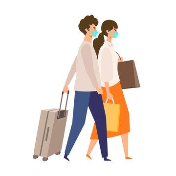 【新しい旅のエチケット】マスクを着用して旅に出るカップルのイラスト GoToトラベルキャンペーンに伴う、新しい旅行様式を伝えるイラスト