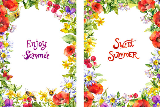 Summer frames for 5x7 floral flyers with summer text. Bright flowers, meadow grass, butterflies, bees. Watercolour