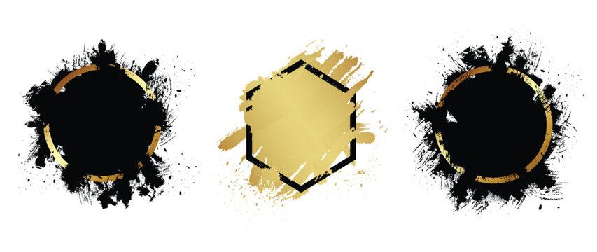 Golden grunge with frame vector, Collection of Grunge background, Spray Paint Elements, Black splashes set, Dirty artistic design elements, ink brush strokes, Vector illustration.