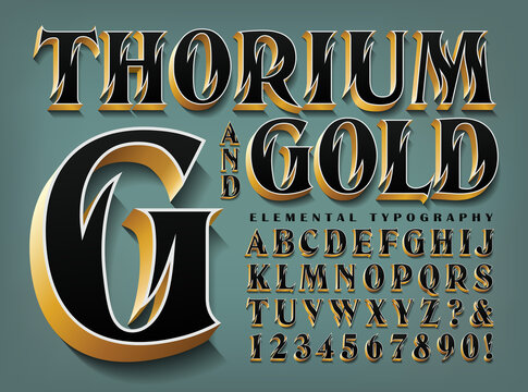 Thorium and Gold is an Ornate Elegant Alphabet with Flame-like Cutouts, 3d Effects and Metallic Gold Edges.