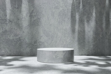 Empty room scene backdrops product display on cement background with sunny shadow in blank studio. Empty pedestal or podium platform. 3D Rendering.