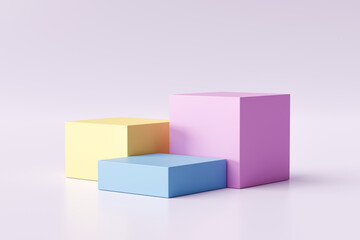 Poster Asia Country Three step of pastel color product display on modern background with blank showcase for showing. Empty pedestal or podium platform. 3D Rendering.
