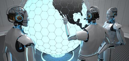 3 humanoid robots point to USA on the globe. 3d illustration.