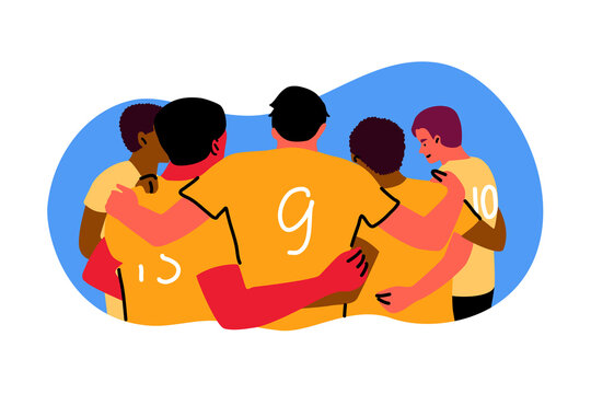 Sport, teamwok, celebration concept. Rugby or american football team of young men boys standing in a huddle and rubbing feet on ground celebrating victory. Goal achiement and winning cup illustration.