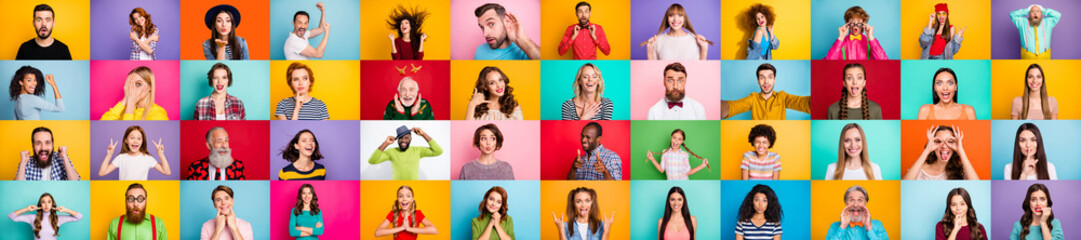 Photo collage of group of glad cheerful excited astonished funky scared surprised people person youngsters children having bright facial expressions isolated over multicolored background