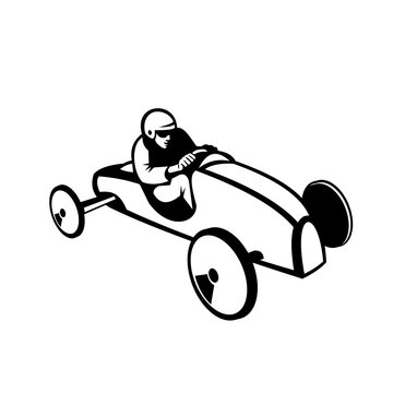 Soap Box Derby or Soapbox Car Racer Racing Retro Black and White