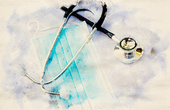 close-up of blue facemask and a stethoscope in watercolors