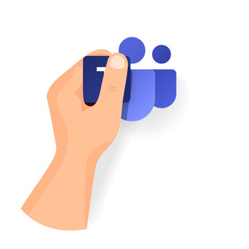 Hand keep new Teams icon from popular program office microsoft. Vector separate icons
