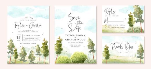 Obraz wedding invitation set with green landscape and blue sky watercolor - fototapety do salonu