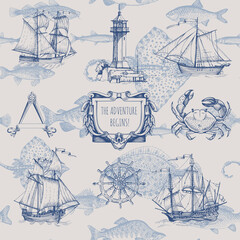 Fotorolgordijn Schip Set of decorative elements for menu design in a marine style. Old ship, lighthouse, sea monsters, fish, wheel, compass meter, frames for inscriptions.