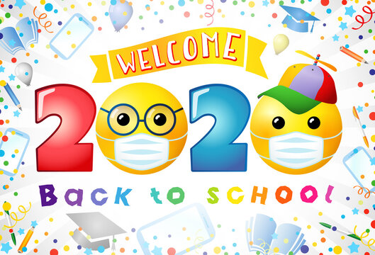 Back to school creative web banner. Class of 2020 sign, award concept. 3D colorful numbers, cartoon faces. Bright text You Are Welcome. Holiday background. Isolated abstract graphic design template.