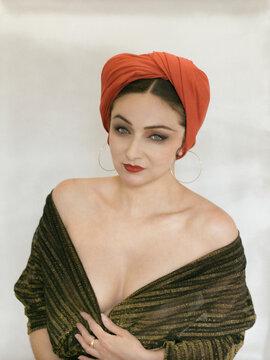 Beautiful retro women with red turban