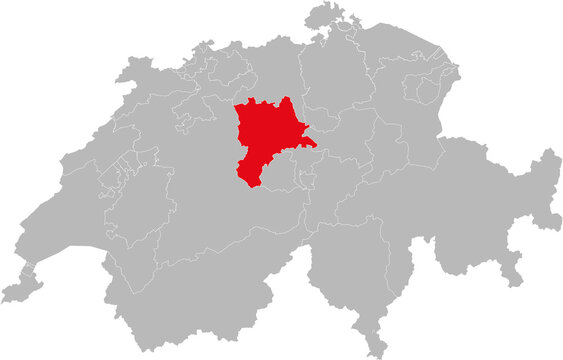 Lucerne canton isolated on Switzerland map. Gray background. Backgrounds and Wallpapers.