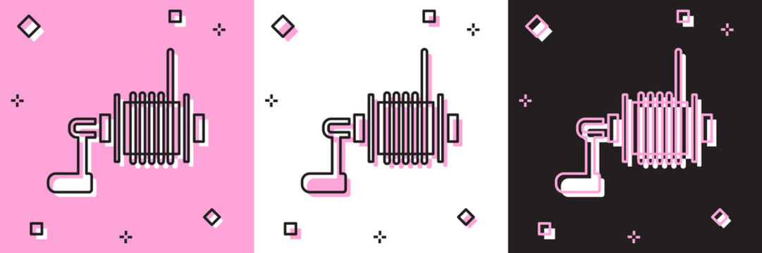 Set Spinning reel for fishing icon isolated on pink and white, black background. Fishing coil. Fishing tackle. Vector.