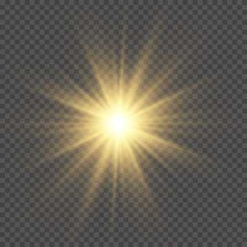 Yellow sun with rays and glow on transparent like background.