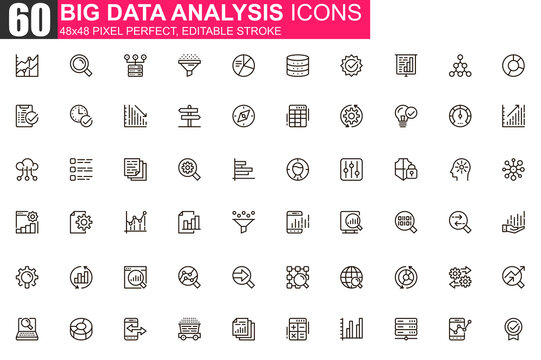 Big data analysis thin line icon set. Data processing outline pictograms for website and mobile app GUI. Digital analytics simple UI, UX vector icons. 48x48 pixel perfect linear pictogram pack.