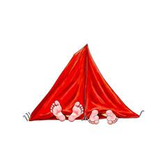 Zelt in rot Füße schauen barfuß heraus, Freizeit Ferien Camping Zelten Urlaub Outdoor Kinder Mann Frau Paar Übernachtung Nacht schlafen ausruhen genießen alternativ sleeping tent barefeet boy