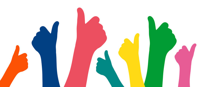 Like hands colorful silhouette banner vector illustration. Thumb up sign flat design