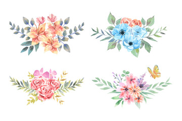 Four water color Lily, Anemone, Rose and Zinnia bouquets with orange butterfly arrange isolated on white background.