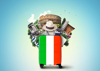 Italy, landmarks Italy and retro suitcase with hat