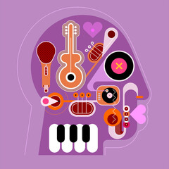 Human head shape design consisting with a different musical instruments vector illustration. Lilac and violet shades design. A music playing inside a head.
