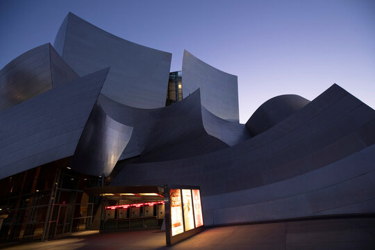 Walt Disney Concert Hall is pictured at dusk during the outbreak of the coronavirus disease (COVID-19), in Los Angeles