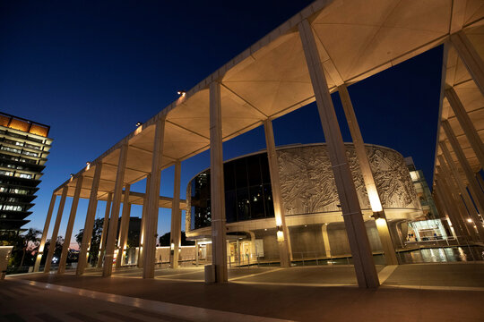 Mark Taper Forum is pictured at dusk during the outbreak of the coronavirus disease (COVID-19), in Los Angeles