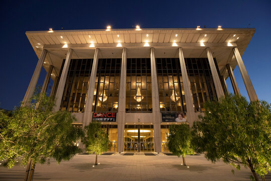 Dorothy Chandler Pavilion is pictured at dusk during the outbreak of the coronavirus disease (COVID-19), in Los Angeles