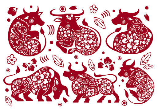 Set of Chinese zodiac characters. The year of the Ox. Vector traditional ornate papercut silhouettes illustration