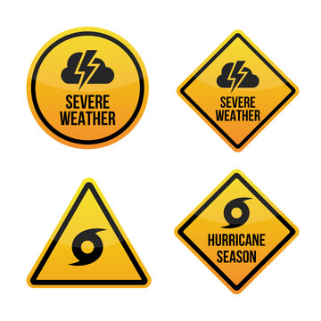 Severe weather alert. Hurricane season. Warning signs labels. Yellow and red. Isolated on white background. EPS10