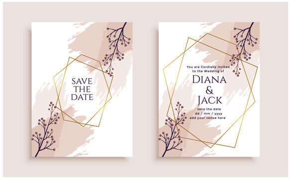 elegant flower wedding invitation card template design