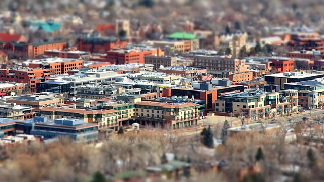 USA, Colorado, Boulder, Cityscape with miniature effect