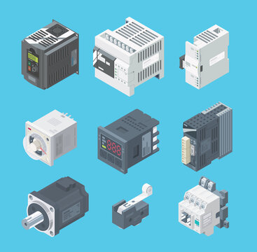 PLC basic set, expansion, factory robot, programmable, equipment, factory control,  isometric, development