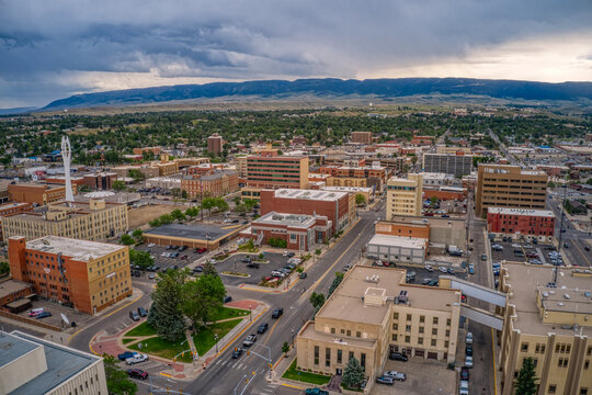 Aerial View of Casper, One of the largest Towns in Wyoming