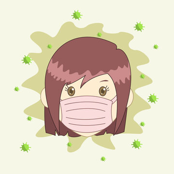 Illustration of someone wearing a mask, fighting against a virus