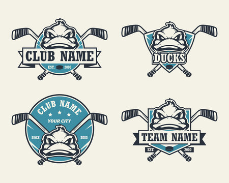 Duck head sport logo. Set of hockey emblems, badges, logos and labels. Design element for company logo, label, emblem, apparel or other merchandise. Scalable and editable Vector illustration.