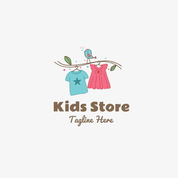 kids store clothing hanging from the branch logo vector