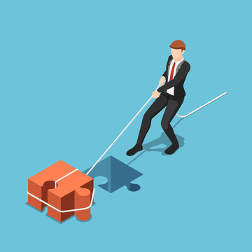 Isometric businessman pull jigsaw block into compatible hole