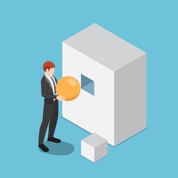 Isometric businessman trying to put sphere shape into the square hole